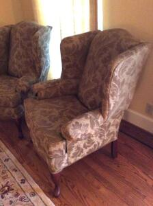 Two Chintz Wing Back Chairs