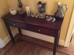Console Table with Decorative Items
