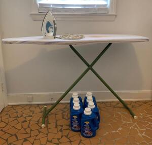 GE iron, ironing board, laundry detergent