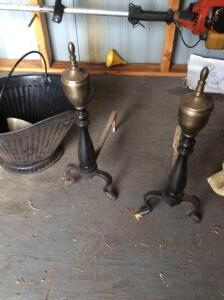 Pair of andirons and coal bucket