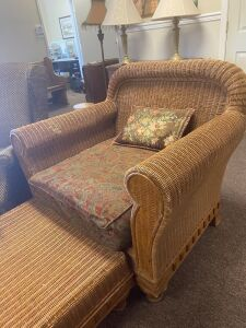 Large Rattan Club Chair and Ottoman