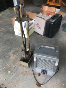 Electric space heater and fireplace tools