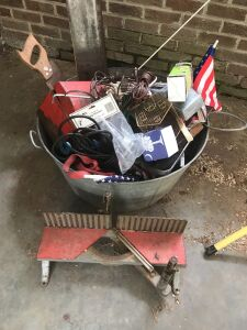 Wash tub With assorted tools and hardware