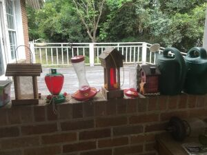 Bird feeders and watering cans