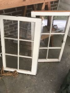 Two window frames with glass