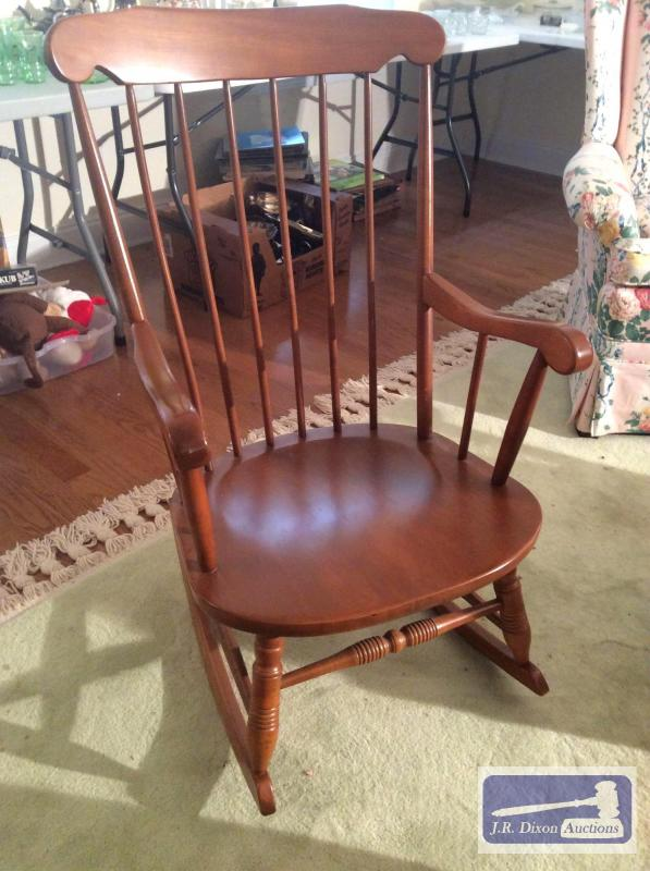 Maple spindle-back rocking chair